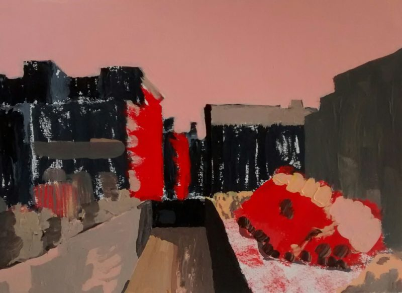 James Secor, Philadelphia Scene 3, acrylic on paper, 2014